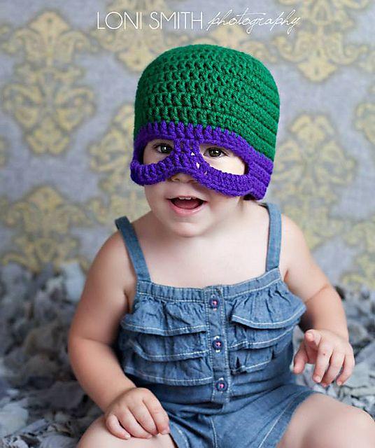 Ninja Turtle Crochet Baby Hat Pattern : Baby Teenage Mutant Ninja Turtles TMNT Mask Hat - 5 Sizes ...