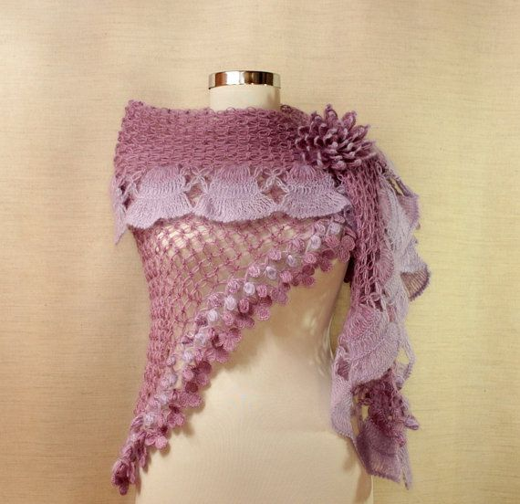Crochet Fantasy : Lilac Fantasy / Crochet Shawl Lavender Ruffle Triangle Cape Lilac Wed ...