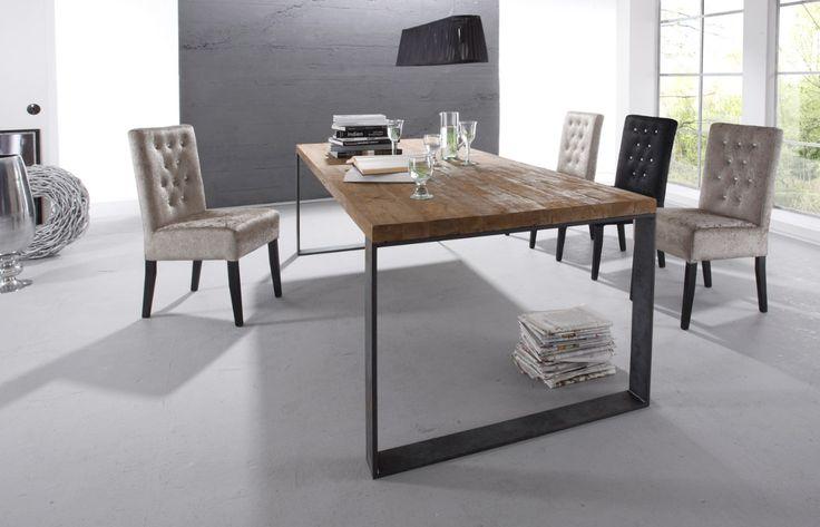 old teak esstisch raw rohstahl teak ancien et deco pinterest. Black Bedroom Furniture Sets. Home Design Ideas