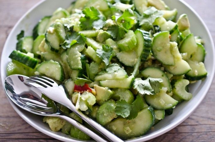 Cucumber Avocado Salad. Can I add bacon & this would be my dream salad ...