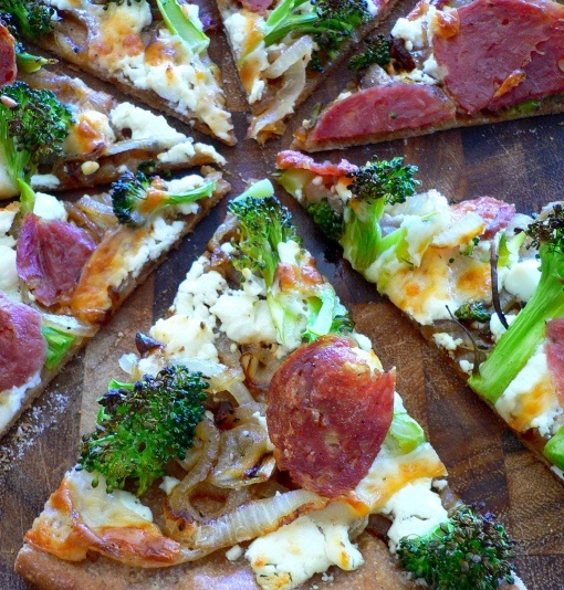 Broccoli and Goat Cheese Pizza with Caramelized Onions and Salami