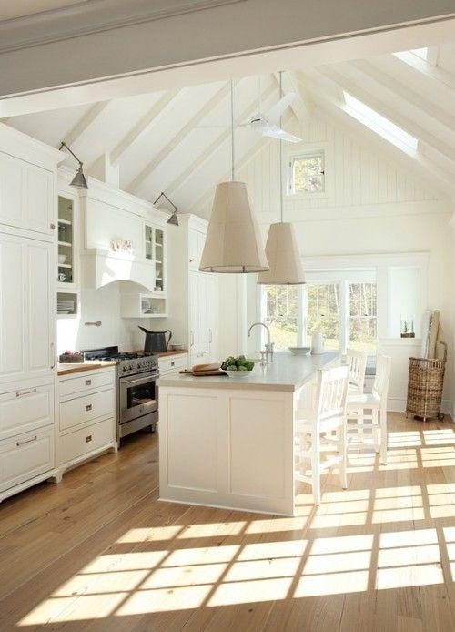 Lampshades. White kitchen.