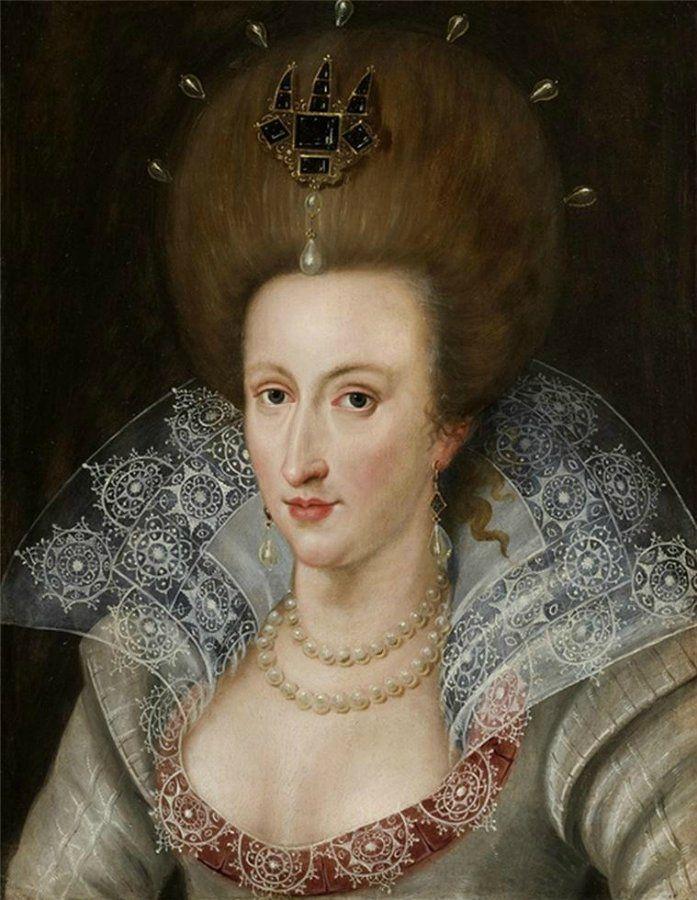 John de Critz (1552-1642) —  Anne of Denmark (1574–1619),queen consort of Scotland, England, and Ireland, wife of James VI (697x900)