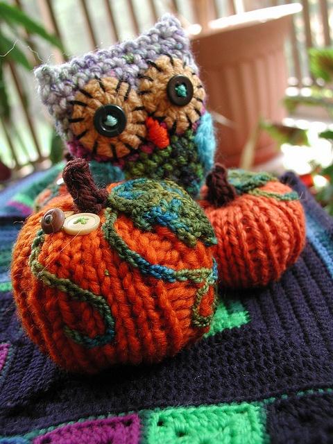 Knitted Owl and Pumpkins | Crochet | Pinterest