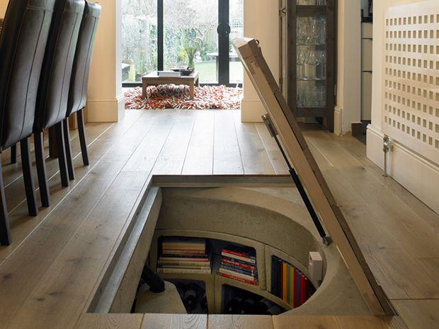 Trap door with spiral cellar book case home design - Wine cellar trap door ...