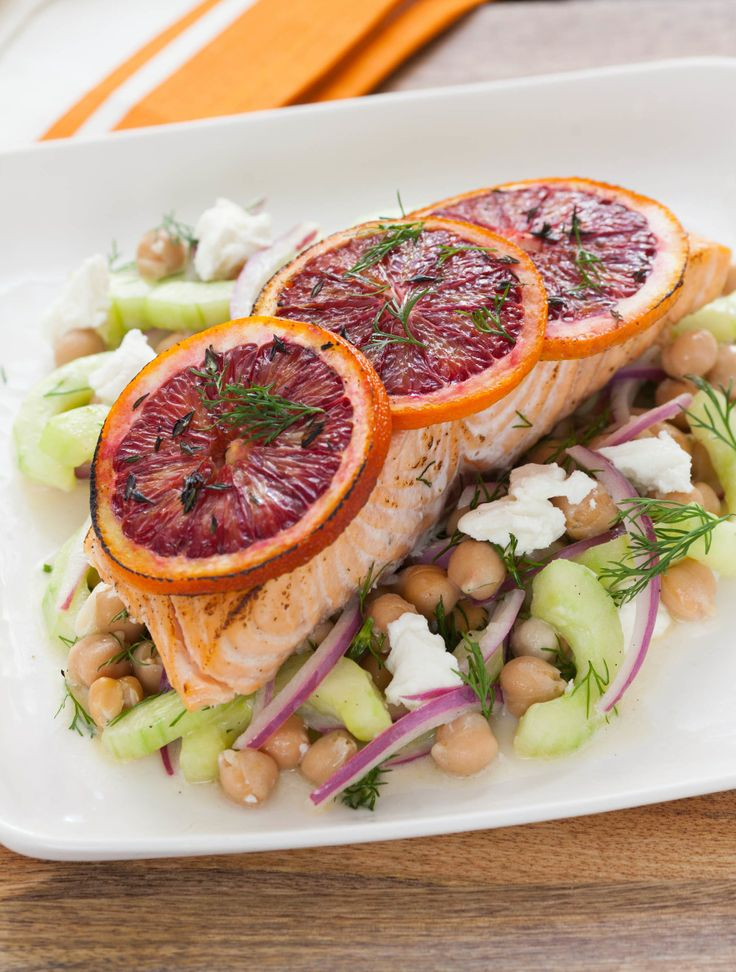 Blood Orange Roasted Salmon with Chickpea Cucumber Salad. Always a ...