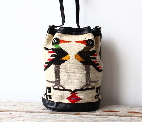 Woven Drawstring Bucket Bag.