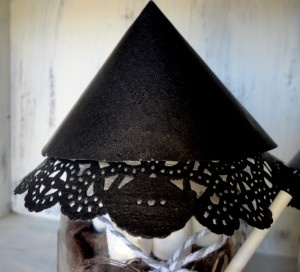 "Witch's hat made from doilies to top the ""witch's brew"" hot..."