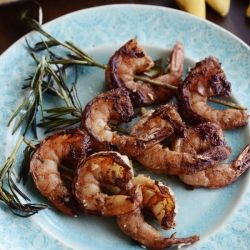 Asian salad with grilled shrimp on Rosemary skewers | Delicious Food ...