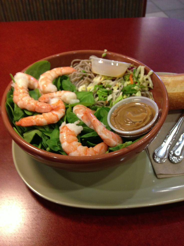 shrimp and soba noodle salad w mixes cabbage and baby spinach, peanut ...
