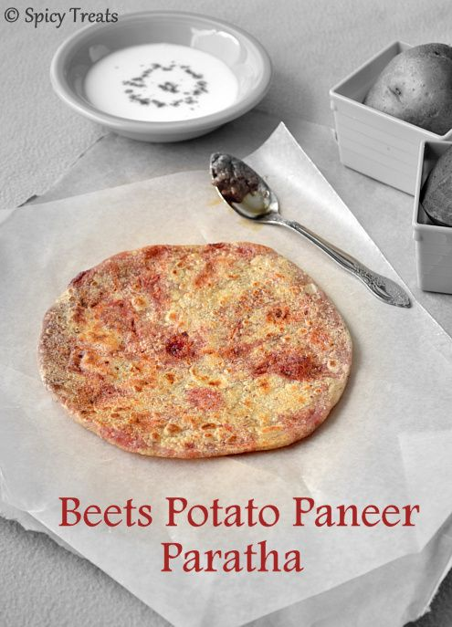 Beets Potato Paneer Paratha / Aloo Beets Paneer Stuffed Paratha ...