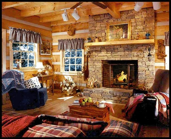 Warm Cozy Living Room With Fireplace Wood Stoves Fire Places