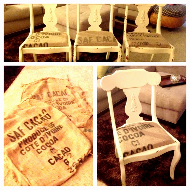 And cocoa burlap bags turned into seat cushions in my dining room