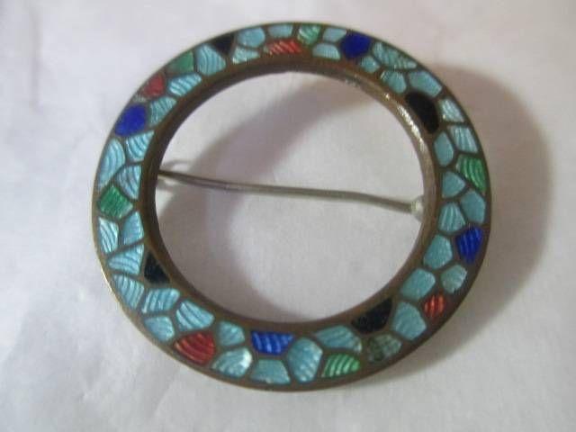 39.99 Antique Vintage Guilloche Enamel Circle Pin Black Enamel