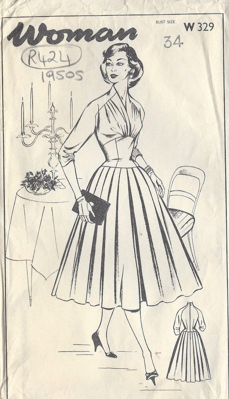 Patron de Couture Vintage Années 50 - Robe B34