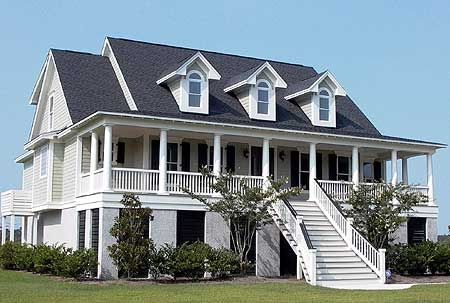 Raised low country classic with elevator for Raised home designs
