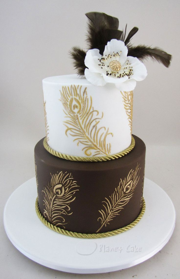 Chocolate Gold Feather Cake