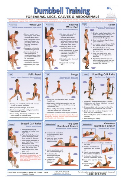 """12"""" x 18"""" laminated poster included in pack a complete set of dumbbell ..."""