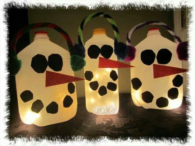 Milk jug snowman kids crafts pinterest for Christmas crafts with milk cartons