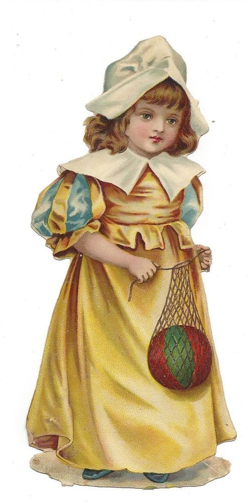 victorian die cut scrap Girl with a Ball in a Net