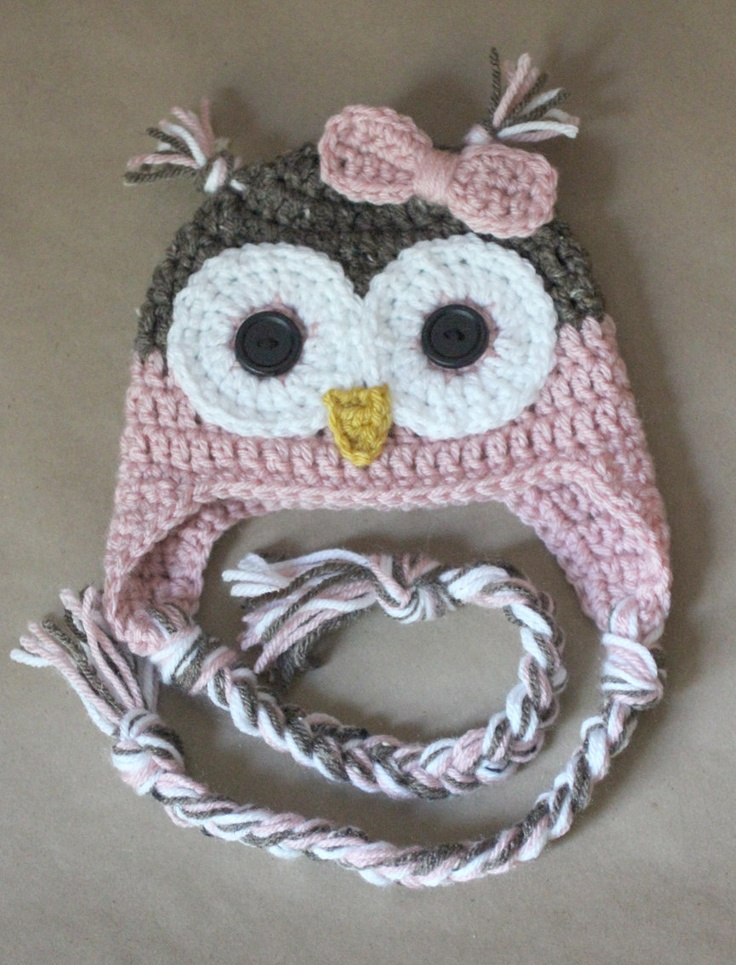 Crochet Owl Hat : Pink Crochet Owl Hat Lily and Kaitie Pinterest
