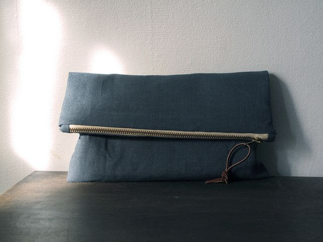 fold-over clutch w/metal zipper