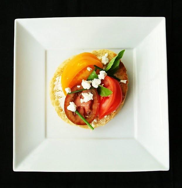 Heirloom tomato feta sandwich from A platter of figs