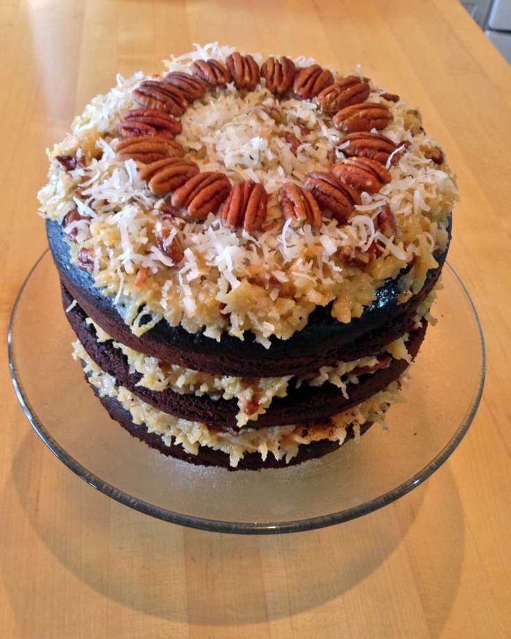 Dark German Chocolate cake with coconut pecan caramel frosting
