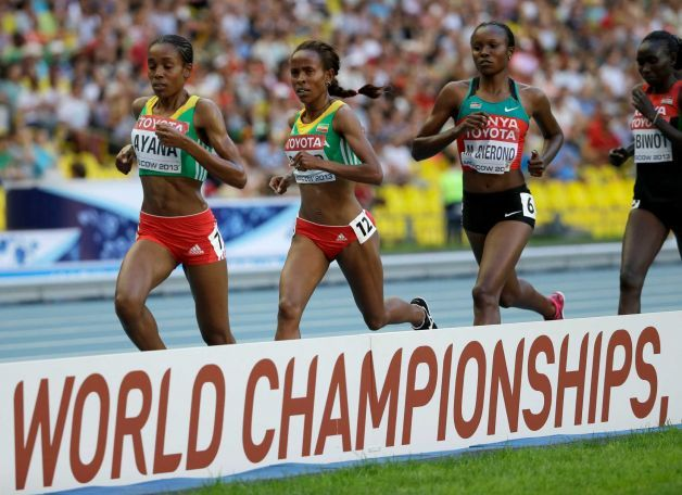 #Oromia and #Kenyan girls dominated #5000m final race, IAAF Moscow 2013. Bronze medal winner Almaz #Ayana of Oromia, gold medal winner Meseret #Defar of Oromia and silver medal winner Kenya's Mercy #Cherono, from left, compete in the women's 5000-meter final  Saturday, Aug. 17, 2013. Photo: David J. Phillip, http://www.sfgate.com/sports/article/Meseret-Defar-wins-women-s-5-000-at-worlds-4740369.php#photo-5056942