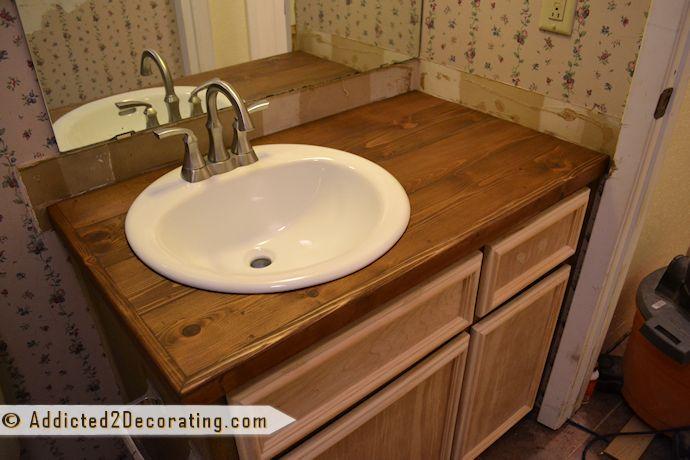 Diy Wood Countertop Bathroom Ideas Pinterest