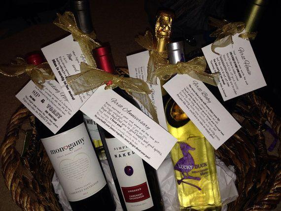 Bridal Shower wine gift basket tags on Etsy, USD20.00