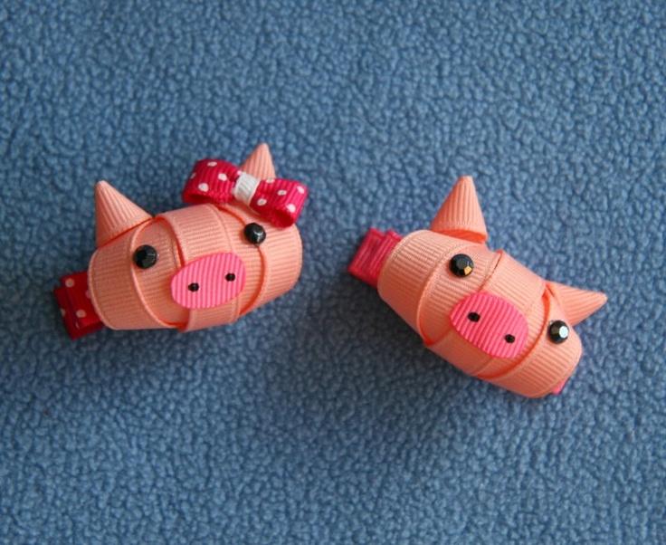 Pig, Piggy, Animal, Ribbon Sculpture, Hair Clip, Bow. $4.75, via Etsy.