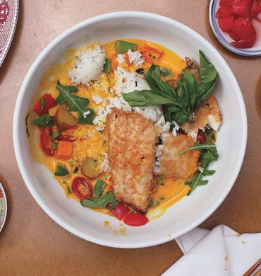 Bass with Herbed Rice and Coconut-Vegetable Chowder | Recipe