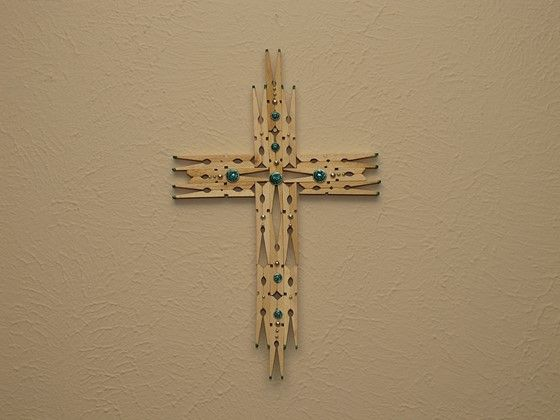 Clothespin cross | clothespin crafts | Pinterest