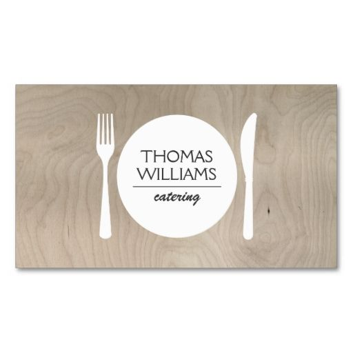 Rustic fork knife plate logo on light woodgrain business card