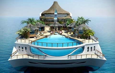 Luxury yacht comes with its own private Island