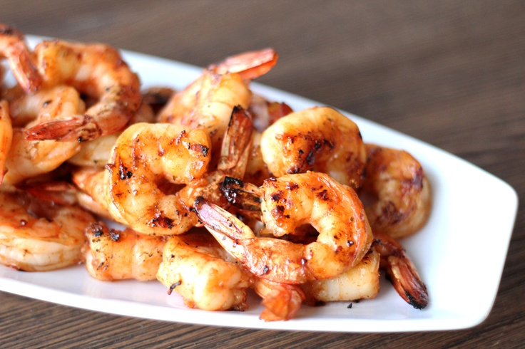 Maple Chili Grilled Shrimp - I wrapped half of them with prosciutto ...