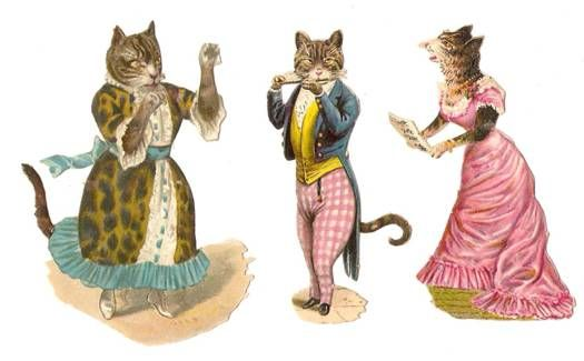 Victorian Die Cuts Dressed Cats Singing Scraps
