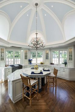 The dramatic octagon shaped kitchen