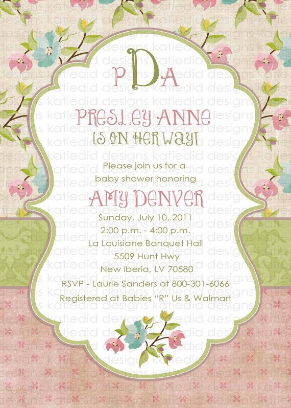 baby girl shower invitations shabby chic digital by katiedidesigns