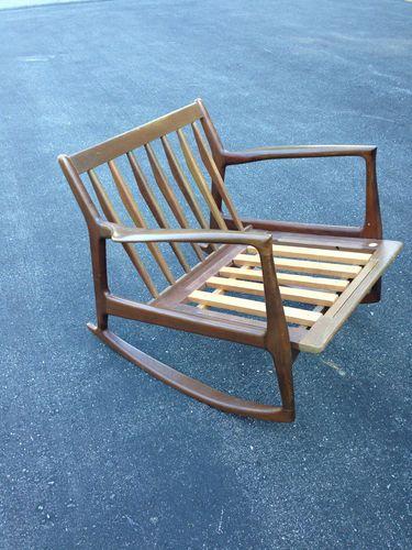 Danish modern selig rocker ib kofod larsen signed rocking chair ebay