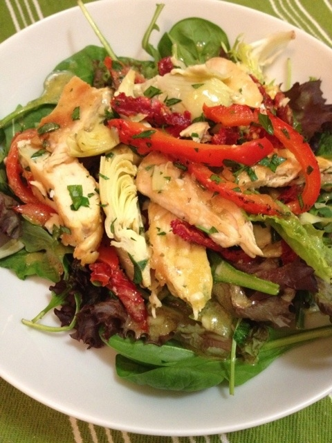 Provençal Chicken Salad with Roasted Peppers and Artichokes
