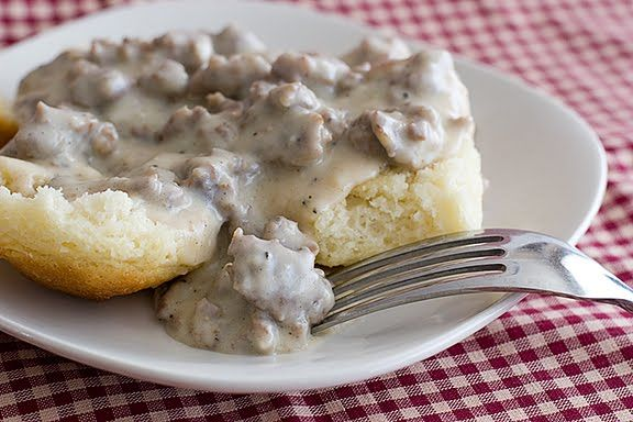 Biscuits and Sausage Gravy. I'm such a sucker for biscuits and gravy ...