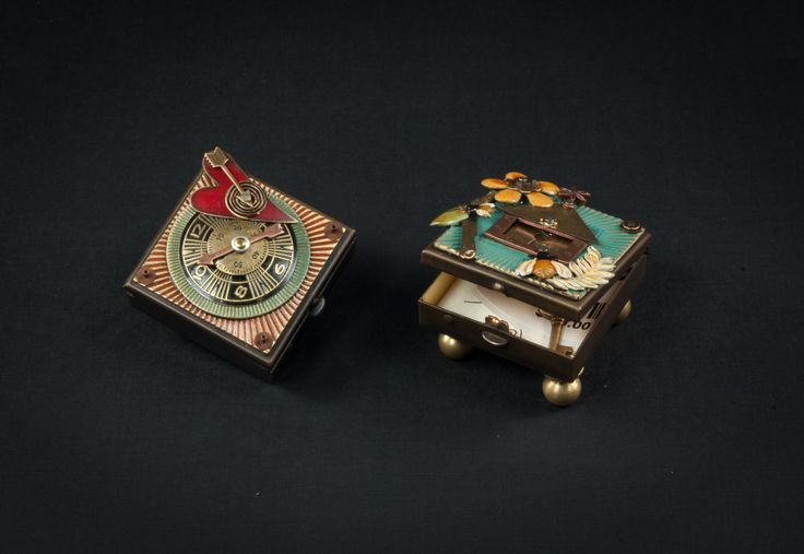 Wish boxes by Mullanium. Each box is hand patinaed, then painted and riveted together.