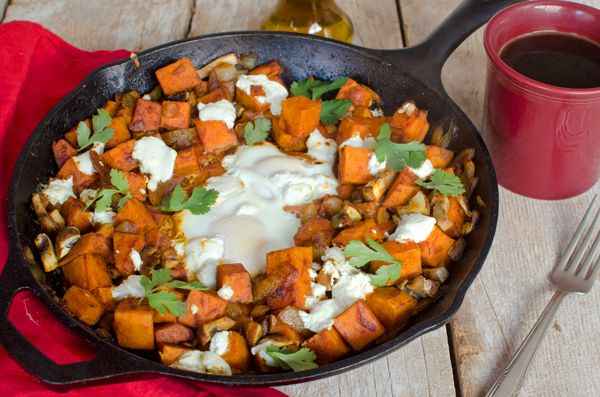 Spicy Goat Cheese and Sweet Potato Egg Skillet + A Giveaway - A Side ...