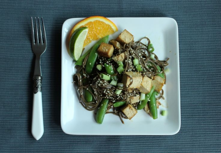 Ginger-Orange Soba Noodles with Shiitakes, Snap Peas and Baked Tofu