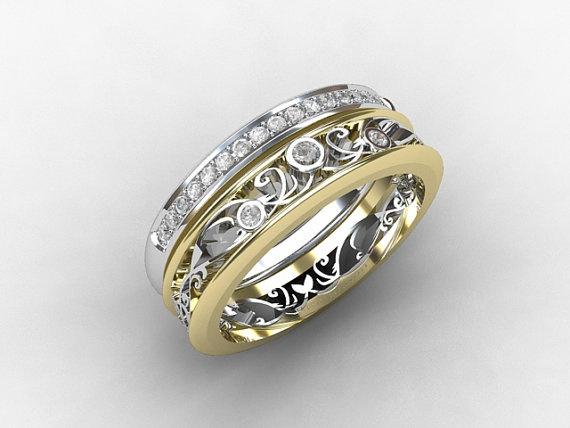 Engagement Ring Set Filigree Ring Diamond Wedding Band Filigree En