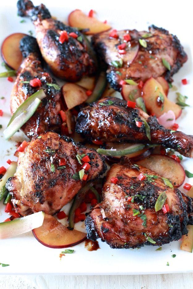 Sriracha Glazed Chicken with Pickled Plum Salad | Recipe