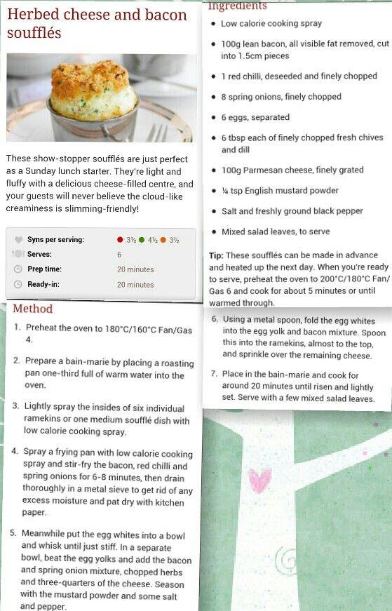 Cheese bacon souffle | Slimming World Stuff | Pinterest