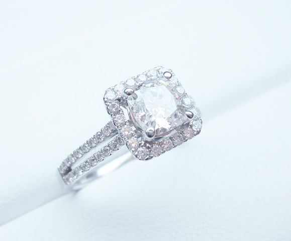 Radiant halo double shank engagement ring with a Princess Cut center # ...